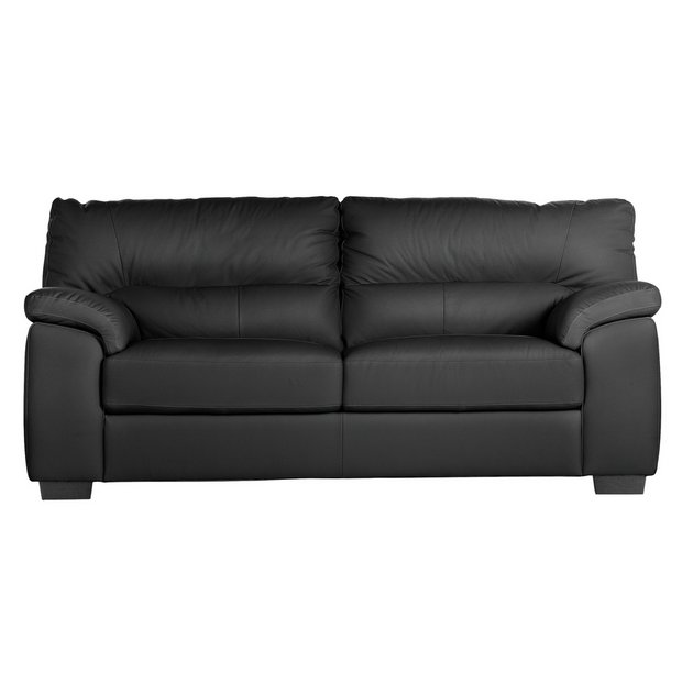 Buy Collection Piacenza 3 Seater Leather Sofa Black At