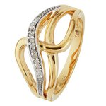 more details on 9ct Gold Plated Silver Diamond Accent Crossover Ring.