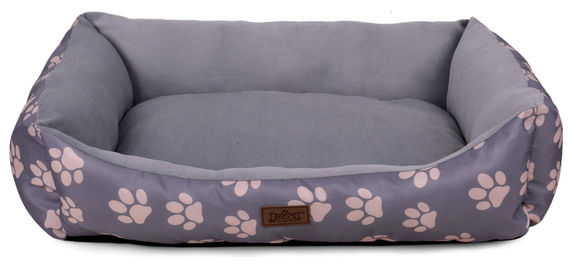 king pets value paw print medium rectangular bed grey