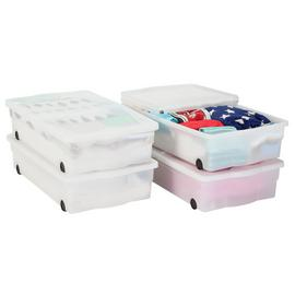 Argos Home Set of 4 Wheeled Plastic Underbed Storage Boxes
