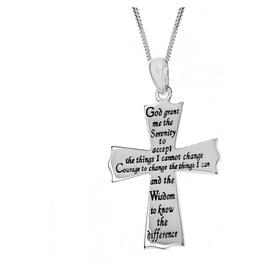 Revere Silver Cross Message Pendant 18 Inch Necklace