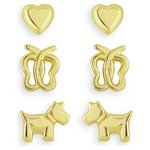 more details on Miss Glitter Gold Plated Silver Heart, Dog, Butterfly Studs.