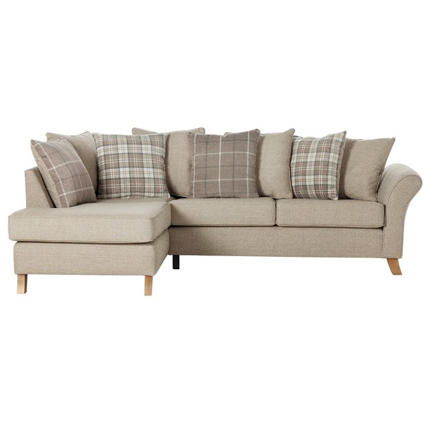 Buy Collection Kayla Fabric Left Hand Corner Sofa Beige