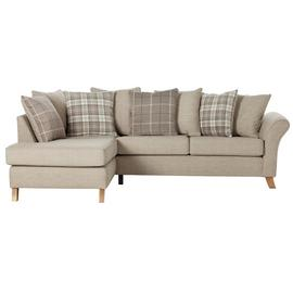 Argos Home Kayla Left Corner Scatter Back Fabric Sofa -Beige