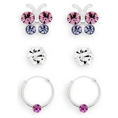 51b00737e Revere Kid's Silver Butterfly Hoop & Studs - Set of 3