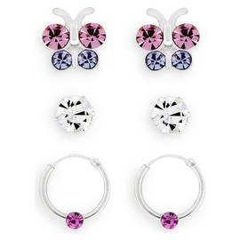 bbce9408e Revere Kid's Silver Butterfly Set of 3 Hoop & Stud Earrings