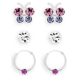 Revere Kid's Silver Butterfly Set of 3 Hoop & Stud Earrings