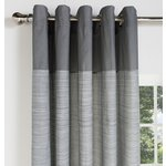 more details on HOME Norfolk Unlined Eyelet Curtains - 229x229cm - Charcoal.