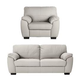 Argos Home Milano Leather Chair & 3 Seater Sofa - Light Grey