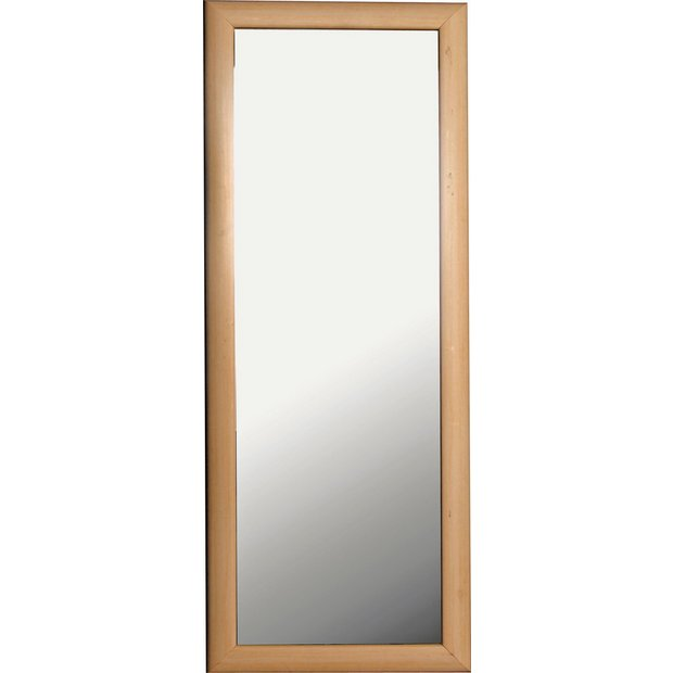 Buy simple value tall framed wall mirror pine effect at for Where to find mirrors