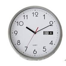 HOME Silver Day and Date Wall Clock