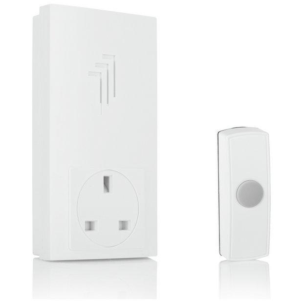 buy byron white 30m plug through wireless doorbell kit at. Black Bedroom Furniture Sets. Home Design Ideas