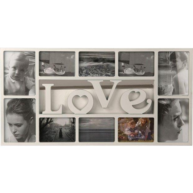 more details on home love 10 print photo frame white