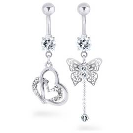 d6ed5321a State of Mine Stainless Steel Butterfly Belly Bar - Set of 2