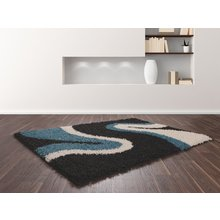 Sienna Ripple Rug - 120 x 170cm - Teal and Black