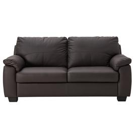 Argos Home Logan 3 Seater Leather Mix Sofa - Chocolate