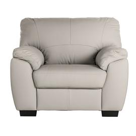 Argos Home Milano Leather Armchair - Light Grey