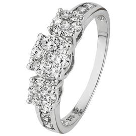 Revere 9ct White Gold Cubic Zirconia Triple Cluster Ring