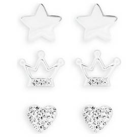 edd2bf508 Revere Kid's Sterling Silver CZ Set of 3 Stud Earrings