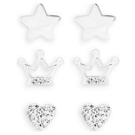 Revere Kid's Sterling Silver CZ Set of 3 Stud Earrings