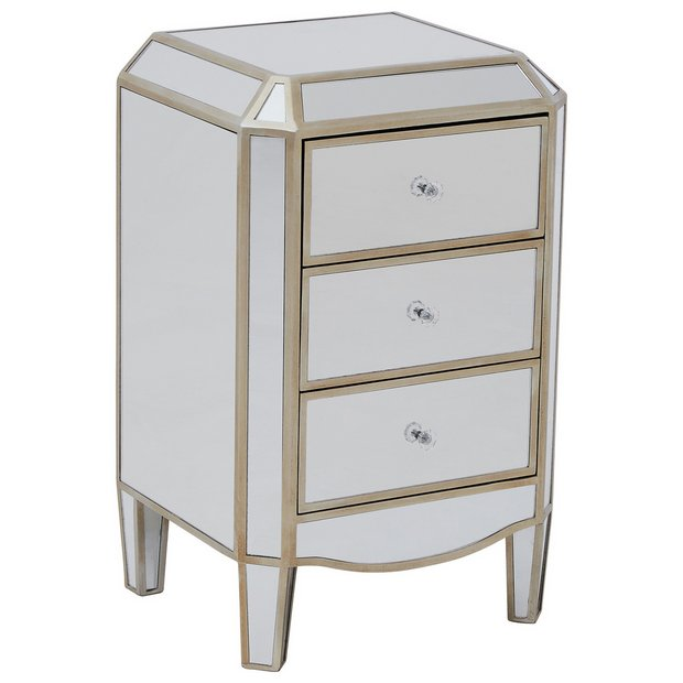 Buy premier housewares tiffany mirrored 3 drawer chest at for Bedroom furniture argos