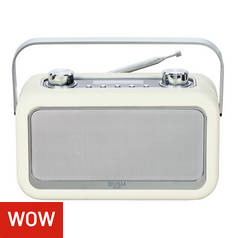 Bush Classic Leather Look Bluetooth DAB Radio - Cream