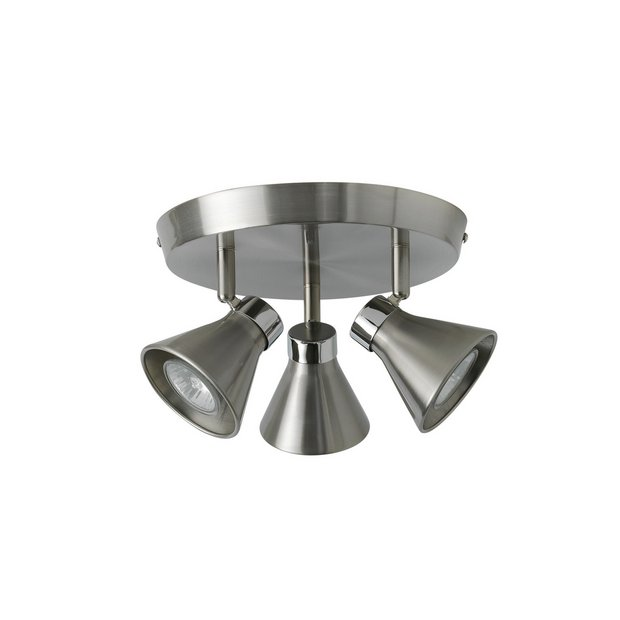 Chrome Garden Wall Lights : Buy Collection Burnley 3 Light Brushed Chrome/Chrome Spotlight at Argos.co.uk - Your Online Shop ...