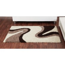 Sienna Ripple Rug - 120 x 170cm - Ivory and Chocolate
