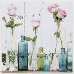 more details on Collection Floral Bottles Print on Wood.