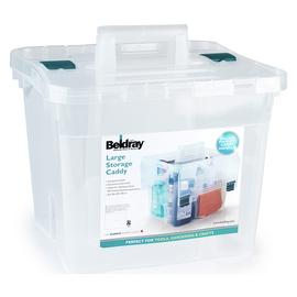 Beldray Large Plastic Storage Caddy with Lid - Clear.