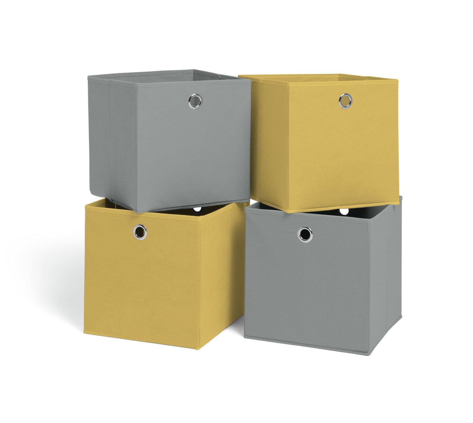 Hygena Set Of 4 Large Boxes   Soft Grey U0026 Yellow