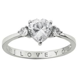 Moon & Back Sterling Silver 'I Love You' Ring