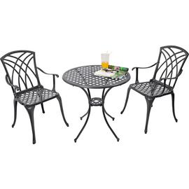 Argos Home Porto 2 Seater Cast Aluminium Bistro Set - Black