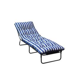 Argos Home Metal Sun Lounger with Cushion - Blue