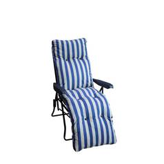 Striped Foldable Multi-Position Sun Lounger with Cushion