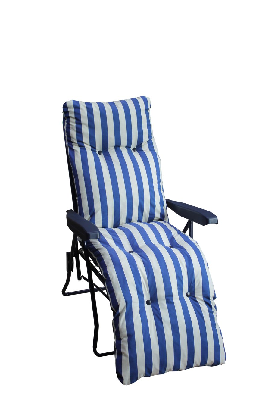 Striped Foldable Multi Position Sun Lounger With Cushion