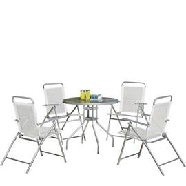 Argos Home 4 Seater Metal Patio Set - Silver
