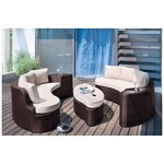 more details on Collection Rattan Effect 6 Seater Patio Sofa Set 2 Sofas