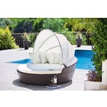 more details on Rattan Effect Patio Day Bed with Canopy and Cushions.