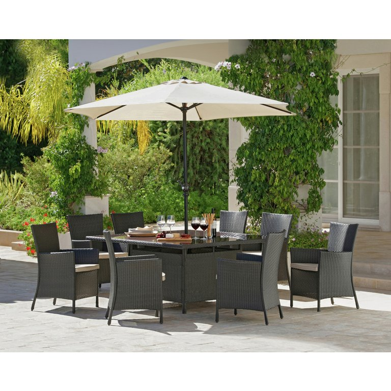 Garden Furniture 8 Seater Patio Set buy bali rattan effect 8 seater patio furniture set - brown at