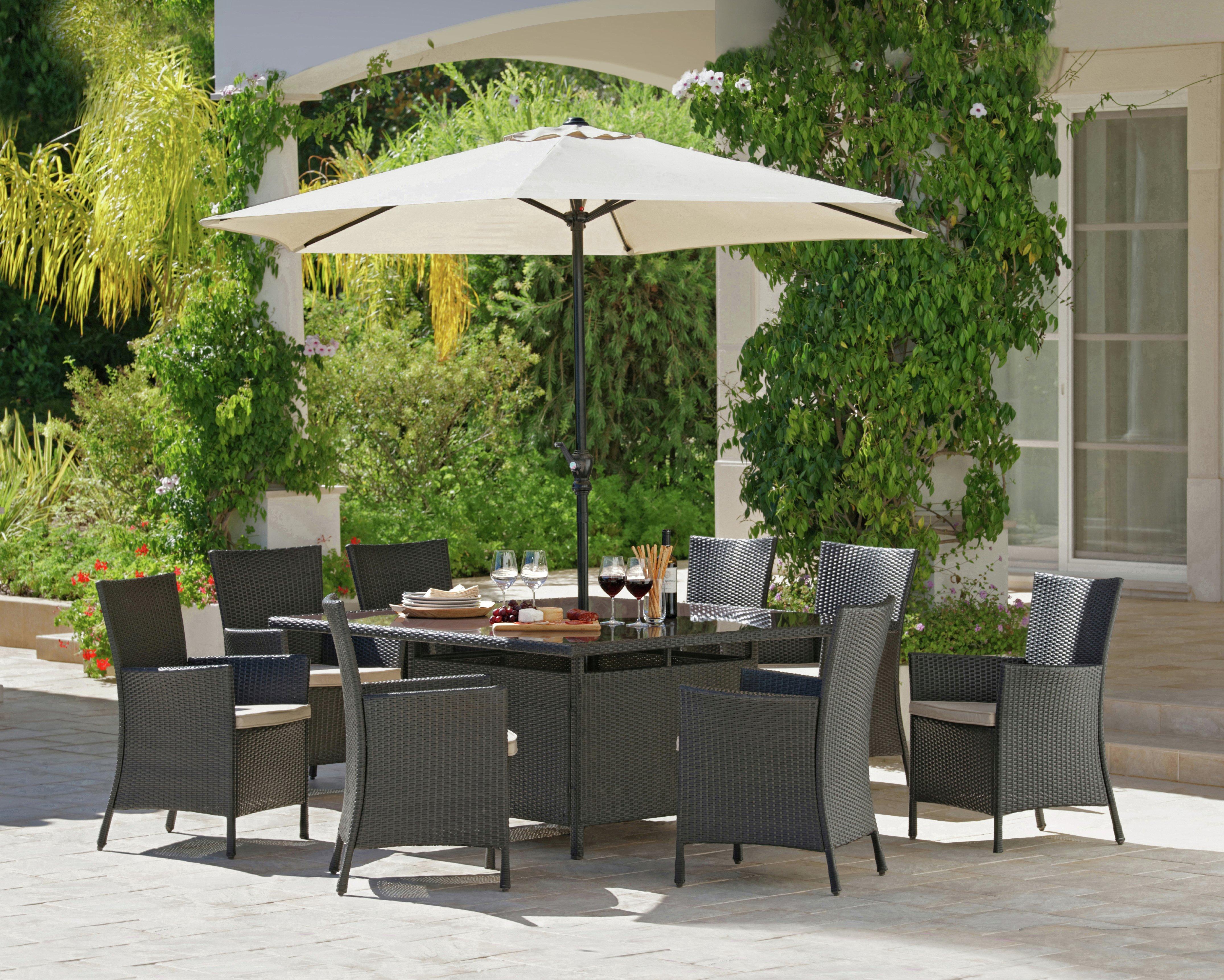 garden dining sets argos. bali rattan effect 8 seater patio furniture set - brown garden dining sets argos o