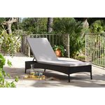more details on Rattan Effect Black Sun Lounger with Cushion.