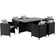 hand woven rattan effect cube 6 seater patio set black
