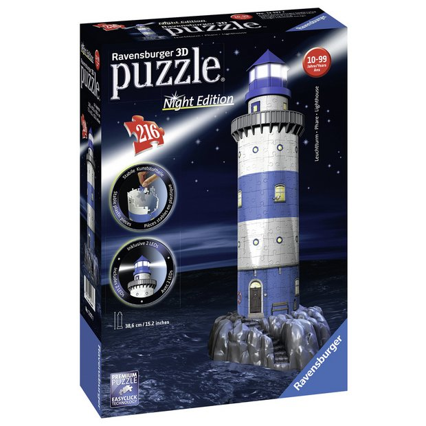 Buy Ravensburger Lighthouse-Night Edition,216pc 3D Jigsaw Puzzle | Games  and puzzles | Argos