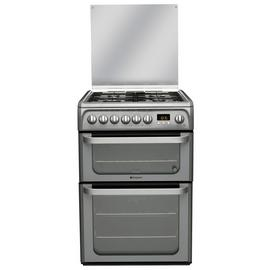 Hotpoint HUD61G 60cm Double Oven Dual Fuel Cooker - Graphite