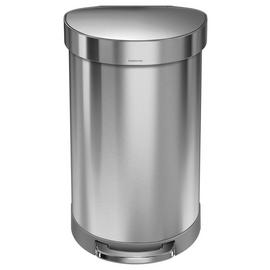 simplehuman 45 Litre Semi Round Pedal Bin - Stainless Steel