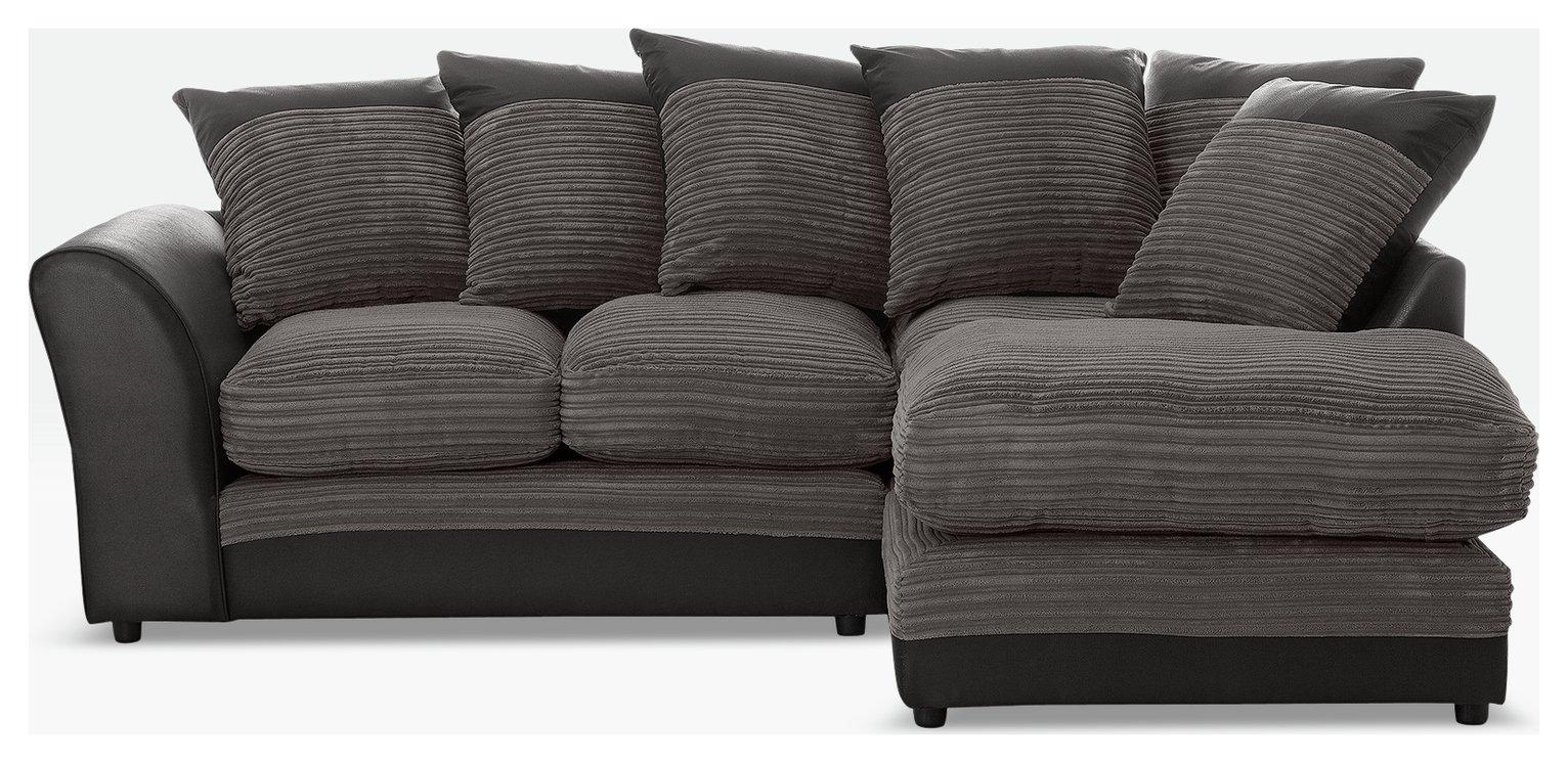 HOME Harley Regular Fabric Right Hand Corner Sofa   Charcoal