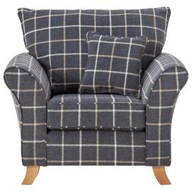 Argos Home Kayla Windowpane Fabric Armchair - Charcoal
