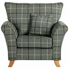 Argos Home Kayla Windowpane Fabric Armchair - Grey & Green