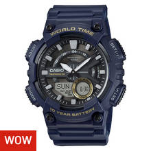 Casio World Time Telememo Blue Strap Combi Watch